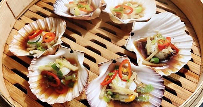 Steamed Asian Scallops